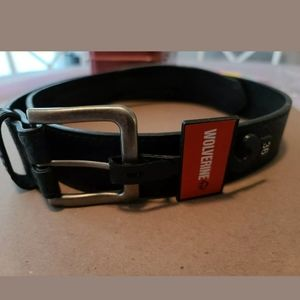 Mens Wolverine size 38 black 100% leather belt nwt